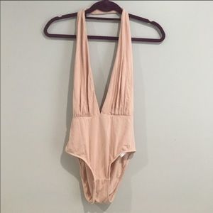 Deep Plunge Baby Pink Bodysuit